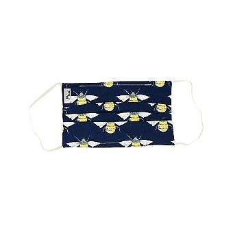 Mio HB3 Buzzing Bees Navy Cotton Face Mask with Removable Nose Wire