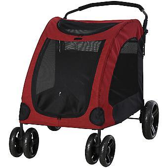 PawHut Dog Stroller 4 Wheels Foldable Pet Trolley Carrier Mesh Windows for Medium Large Dogs Traveling Red