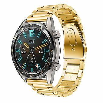 For Huawei Watch GT 2 46MM Stainless Steel Replacement Wrist Band Strap[Gold]