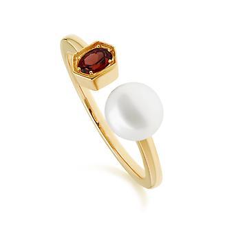 Anillo abierto moderno de perlas y granates en plata de ley chapada en oro 270R058708925
