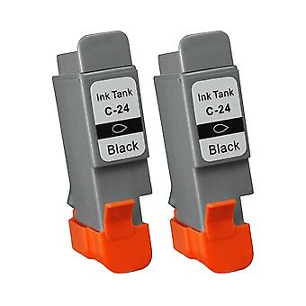 RudyTwos 2x Replacement for Canon BCI-24BK Ink Unit Black Compatible with Pixma iP1000, iP1500, iP2000, MP110, MP130, SmartBase, MultiPass, Bubble Jet, ImageClass, Pixus MP200, MP360, MP360S, MP370, M