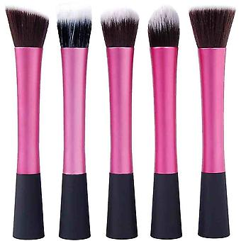 5 Foundation Make Up Flat Head Round Pointed Conical And Angle Foundation Brushes - Synthetic Hair Aluminium Handle - Black And Hot Pink