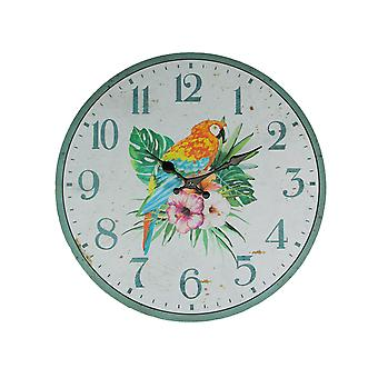 Tropical Island Parrot and Hibiscus Flower 16 Inch Diameter Round Wall Clock