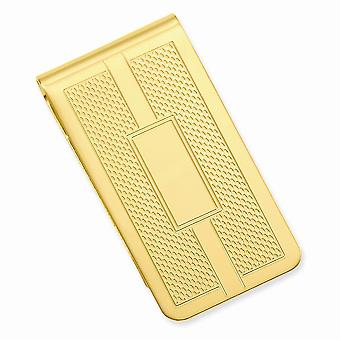 14k oro placcato solido lucido fantasia pettine di miele e quadrati incise denaro clip gioielli regali per gli uomini