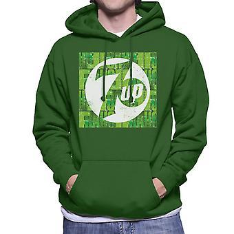 7UP Bedrövad Text Logo Män & Apos; s Hooded Sweatshirt