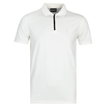 Emporio Armani White Zip Polo Shirt
