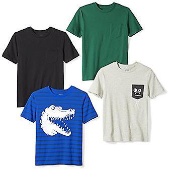 Brand - Spotted Zebra Boys' Little Kid 4-Pack Short-Sleeve T-Shirts, C...