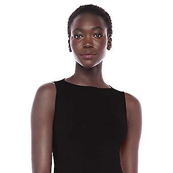 Brand - Lark & Ro Women's Sleeveless Ballet Neck Fit and Flare Sweater Dress, Black,Large