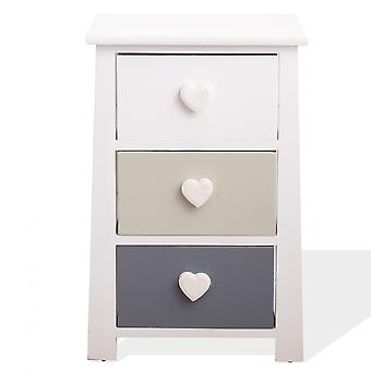 Rebecca Furniture Bedside Tables Shabby Chic White Beige Light Grey 56x37x27