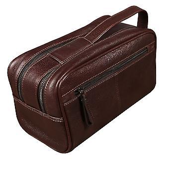 Primehide Mens جلد غسل حقيبة الحلاقة المرحاض عطلة نهاية الأسبوع السفر حقيبة جنتس 567