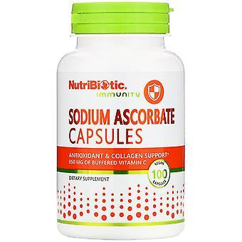 NutriBiotic, Immuniteit, Natrium Ascorbaat, 100 Veganistische Capsules