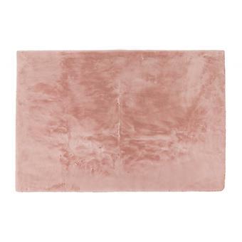 Luxe Faux Rabbit Fur Rectangular Rug 5' X 8'  - Blush Pink