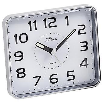 Atlanta 1973/19 Alarm clock quartz analog silver quiet without ticking with light