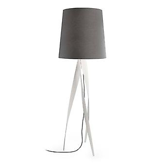 Leds-C4 GROK - 1 Light Floor Lamp White with Black Fabric Tall Shade, E27