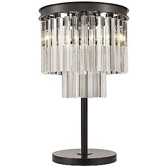 Spring Lighting - 3 Light Table Lamp Black Chrome, Crystal, E14