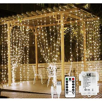 Lights Battery Or Usb Plug In,9.8 X 9.8 Ft Curtain Of String Lights With Remote, 300 Led Indoor Outdoor Decorative Christmas Twinkle Lights For Bedroo