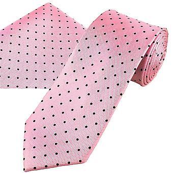 Ties Planet Oro Etiqueta Rosa y Azul Marino Polka Dot Hombres's Seda Tie & Pocket Square Handkerchief Set