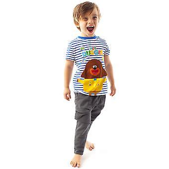 Hey Duggee Character Floppy Ears Boy's Blue & White Striped T-shirt Kids Tee
