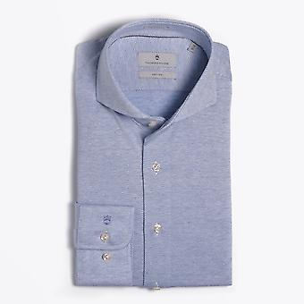 Thomas Maine  - Knitted Chevron Shirt - Blue