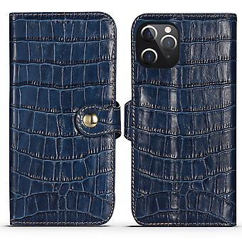 Para iPhone 12 Pro Max caso de cuero genuino cocodrilo textura cartera cubierta azul