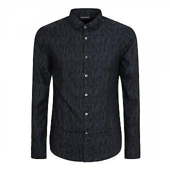 Emporio Armani L/S All-Over Jacquard Logo Shirt Black 6H1C09 1NJZZ