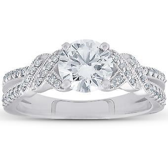 טבעת אירוסין 1/2ct יהלום וינטאג' 14k זהב לבן עגול מבריק לחתוך