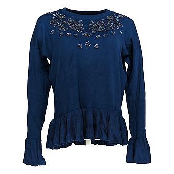 Colleen Lopez Women's Sweater Joyfully Jeweled Bell-Sleeve Blue 616-074