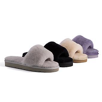 Aus Wooli Australia Womens Sheepskin Fluff Slide Slippers