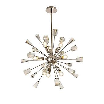 Aimee Sputnik Pendant, 9 Light E14, Polished Nickel/crystal