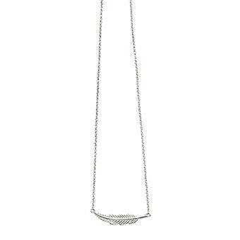 Alku 925 Sterling Silver Ladies' Hopeinen sulka kaulakoru pituus 41-46cm