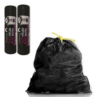 Cordón Extra Fuerte Sacos de Rechazo 50L - 20Bags x 2Pk Negro