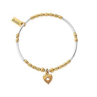 ChloBo GMBMNSR4022 Women's Two Tone Star Heart Bracelet