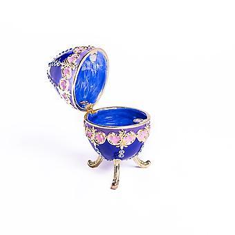 Blue Decorated Faberge Egg Trinket Box
