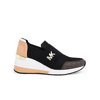 Michael Par Michael Kors 43t0fxfs4d987 Women's Black/pink Polyester Slip On Sneakers