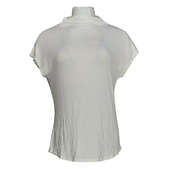 Lisa Rinna Collection Women's Top Short Sleeve Cowl Neck Ivory A391715
