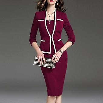 Women's Suit Bodycon 2 kappaletta Set Office Wear Jacket Mekko