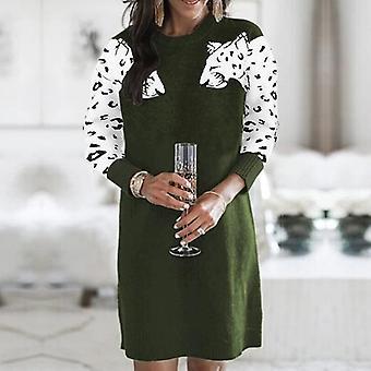 Leopard Pattern Knitted Sweater Dress