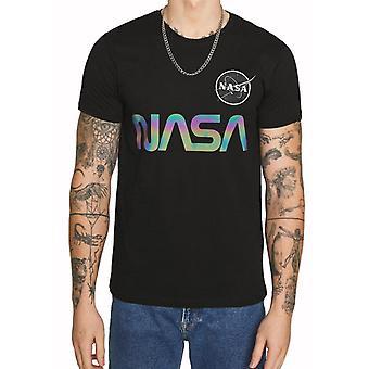 Alpha Industries NASA Regenbogen reflektierende T-Shirt schwarz 74