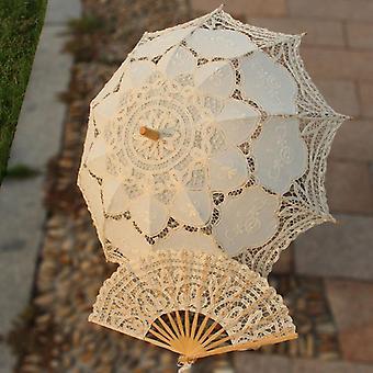 Käsintehty morsius Battenburg pitsivarjo ja tuuletin asetettu Hää morsian sateenvarjo
