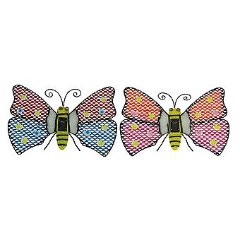 Set of 2 Solar Powered Lighted Butterfly Outdoor Wall Hangings