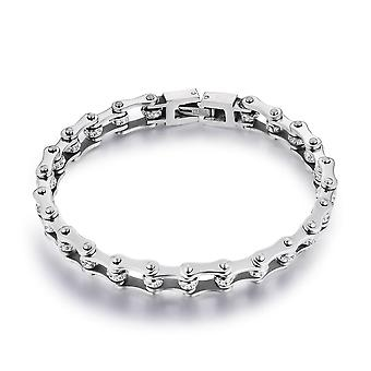 Pure Neutral Classic Stainless Steel Bracelets, Crystal, Motorcycle Chain,