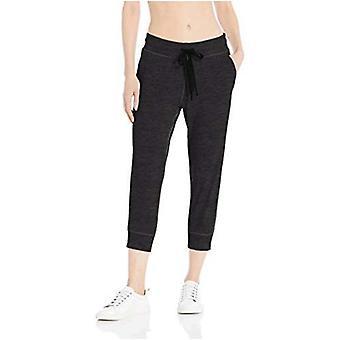 Essentials Women&s Brushed Tech Stretch Crop Jogger Spodnie, Navy Spacedye, Duży