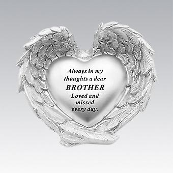 David Fischhoff Silver Heart In Wings Brother Remembrance Memorial Ornament
