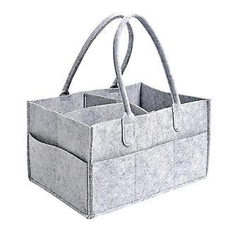 Baby Diaper Organizer Caddy Felt Changing Nappy Kids Storage Carrier Bag (gray)