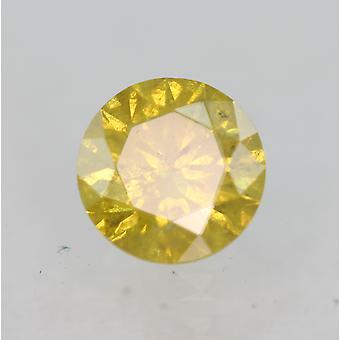 Cert 0.33 Karaat Levendige Gele SI3 Ronde Briljant Verbeterde Natuurlijke Diamant 4.44mm