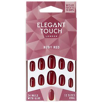 Elegant Touch Ruby Red Uñas Postizas 24 uds