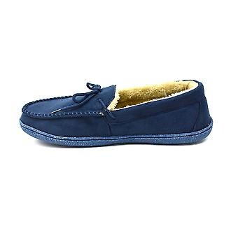 Men's Bow Faux Fur Lined Slippers Navy