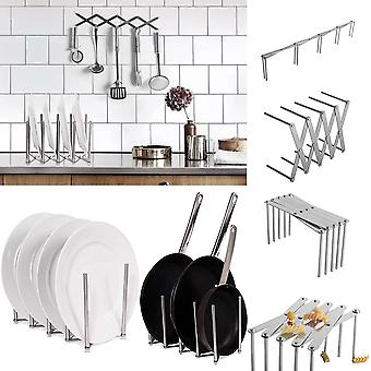 Kitchen Organizer Pot Lid Rack Extended Stainless Steel Spoon Plate Holder Shelf Cooking Dish Tray Stand Accessories Storage