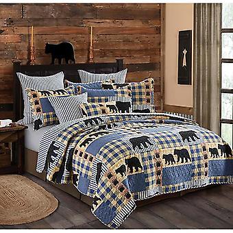 Spura Home Pictorial Oso Negro Plaid Impreso Novedad Quilt Set