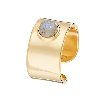 Gouden ring 'Crystal grey Labrodrite'
